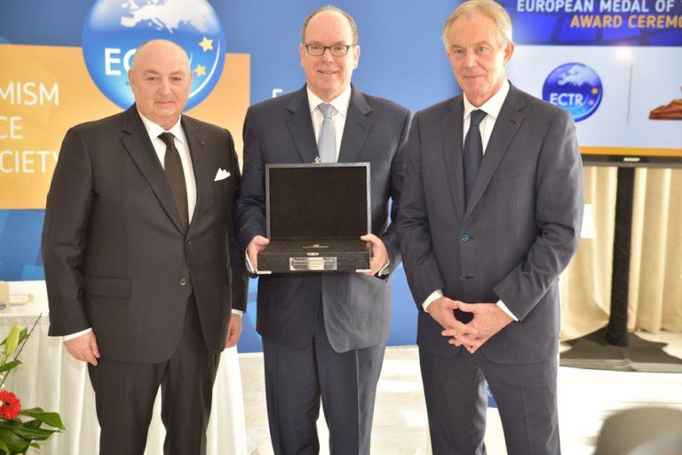 ECTR awards 2018 European Medal of Tolerance to HSH Prince Albert II of Monaco